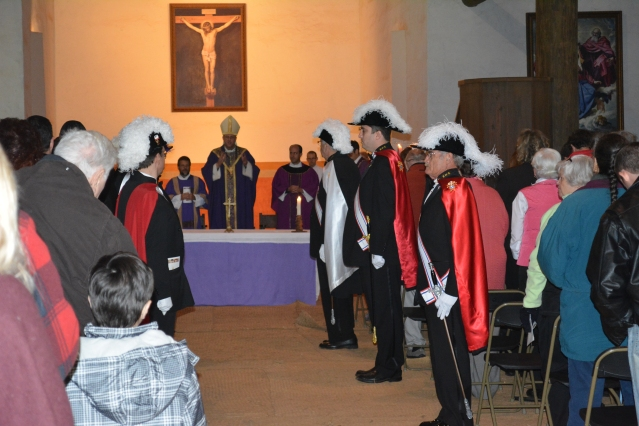 During Mass in the Chapel of Mission San Luis in Tallahassee