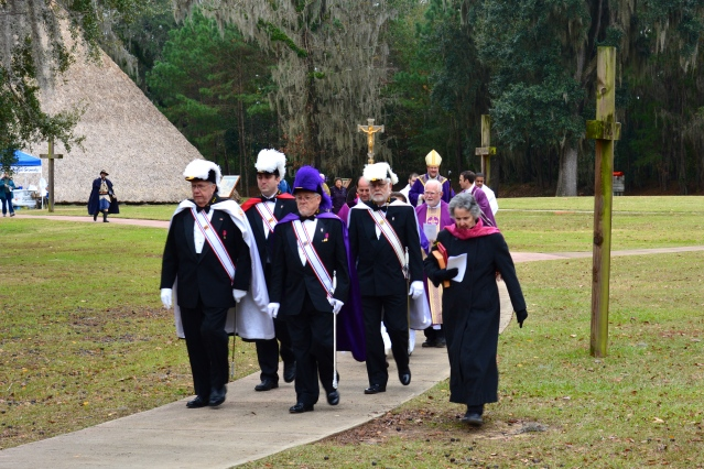 Providing escort for the bishop at early 1700's Spanish mission