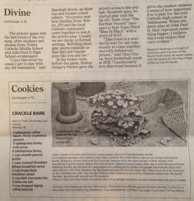 They cut my words in half to fit a cookie recipe into the faith section.