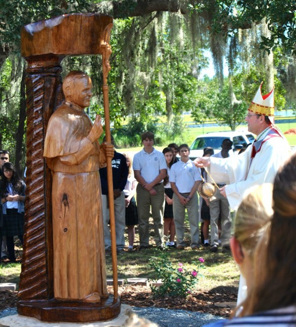 Bishop Gregory Parkes  blessed this beautiful wooden image of Saint John Paul II, created by Mr. John Birch.