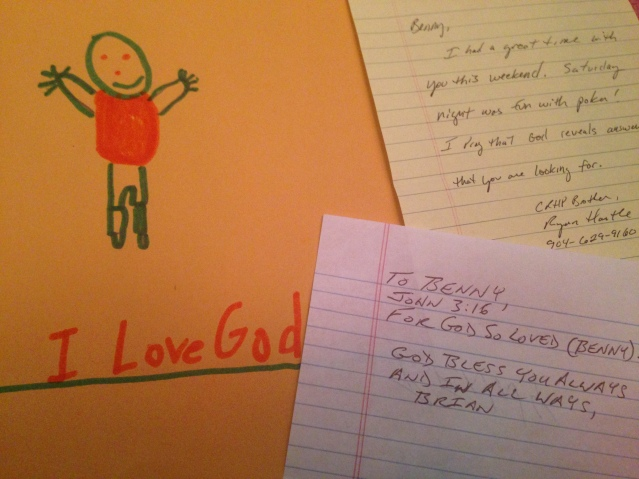 Letters given to me by fellow men at the retreat