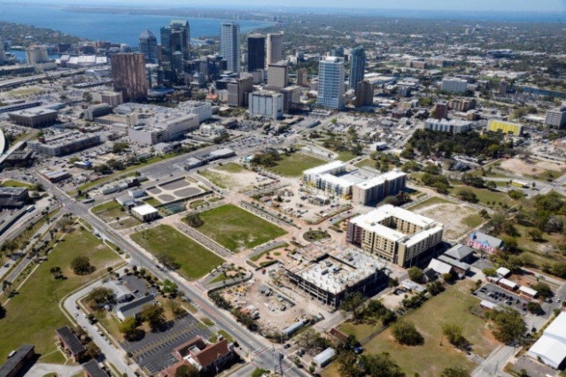 Aerial Downtown Tampa by Flying Drone Cameras