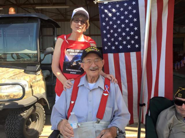Remembering D-Day airshow 2015. My grandpa has an honored guest. — With my mom at the Rusk County Airport. I flew into this airport in a Piper 180 in 2001.